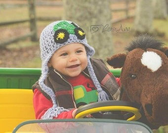 Tractor Hat, farming hat, tractor beanie, baby tractor hat, newborn tractor hat, tractor photo prop,  newborn tractor prop