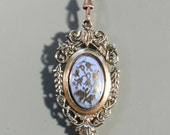 Antique Enamel Gold Tone Pendant Necklace Extra Long Chain Large Pendant French Victorian Jewelry