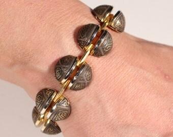 Vintage Art Deco Bracelet Damascene Toledo Bracelet Articulated Bracelet Geometric 1930s Jewelry