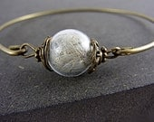 REAL DANDELION delicate bangle - bronze. Jewelry for her.