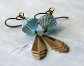 SALE Art Deco Earrings: Blue and Gold Beads with Brass Triangles, Vintage Style, Gifts Under 15