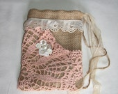 Burlap Drawstring bag Dollar Dance Wedding Rustic Country Bridal Upcycled  Doilie Lace Wristlet