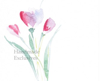 Handpainted Greeting card, tulip, Spring flower, pink, Watercolor Card, Easter, Mother's day, Blank, under 10, Handmade Exclusives