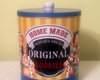 Cookie Tin Gingerbread Metal Canister. Ginger Decor Ginger Lover Country Kitchen Ginger  Kitchen Housewarming Gift. Country Home. Storage.