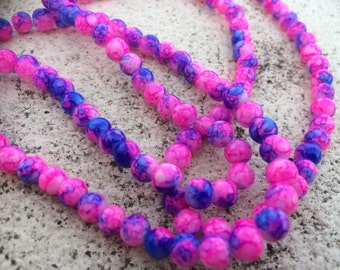 6mm pink & blue mottled round glass beads - 20 beads