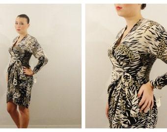 Vintage Dress Wild Silk Wrap Dress Argenti Zebra & Leopard Animal Print Faux Wrap Long Sleeve Dress DEADSTOCK nwt 6 Modern Medium to Large