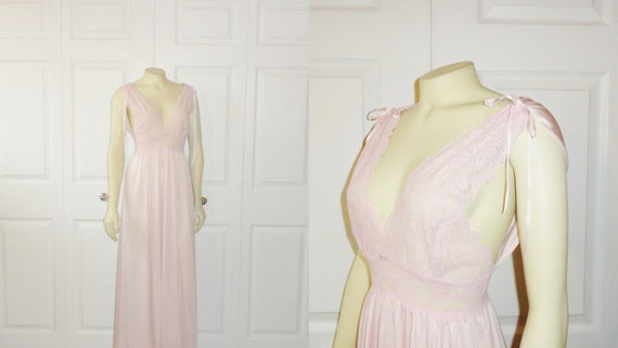 Vintage Nightgown Olga 92201 RARE Baby Pink Lace Bodice Nylon Satin Skirt Small Fits Modern S M L Hard to Find Style