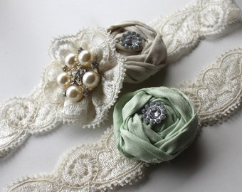 Garter - Wedding Garter - Bridal Garter NEW  - Ivory & Pastel Green Bridal Garter Set - Special Offer for Limited Time ONLY 25% Off