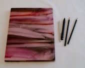 Upcycled Sketch Book, Handpainted Sunset Stripes
