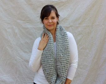 Chunky crochet infinity scarf cowl- Canmore warmer - grey marble