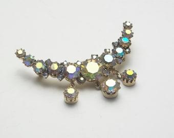 Vintage Blue Greens Aurora Borealis Cresent Moon Costume Jewelry Dangle Brooch Pin on Etsy