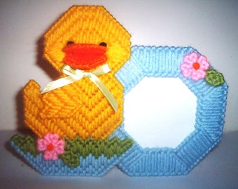 Baby needlepoint duck frame.