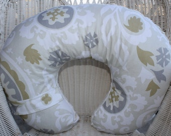 Nursing PIllow Cover - Taupe Ivory Gray Suzani and Ivory Vines Minky Boppy Cover - Damask, Tan, Gray, Neutral, Modern