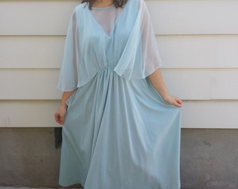 1970s Baby Blue Gown with Sheer Cape