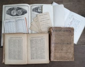 paper ephemera lot antique mixed collage pack antique dictionary and ledger