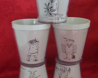 Vintage SIXTIES Gits Ware Roselle Insulated Tumblers