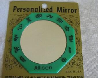 Vintage CHOOSE A NAME  Horoscope Pocket Mirror Original Packaging