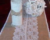 Bridal table Runner in Burlap and lace Donna Su