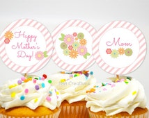 Mother's Day Cupcake Toppers - Spring Flowers - DIY Printable Digital File