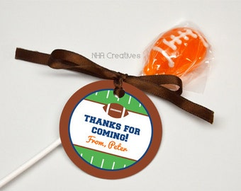 Personalized Football Favor Tag - DIY Printable Digital File