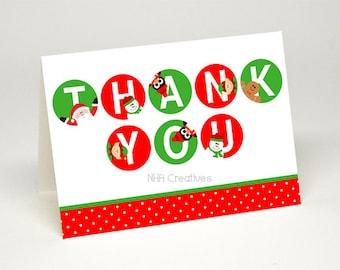 Christmas Thank You Card - Santa, Snowman, Penguin, Elf, Gingerbread man - DIY Printable Digital File