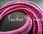 """Super Long 11""""-14""""  Feather Hair Extension, Whiting Eurohackle, Bubble Gum Pink, 6 Piece (3 Grizzly / 3 Solid)"""