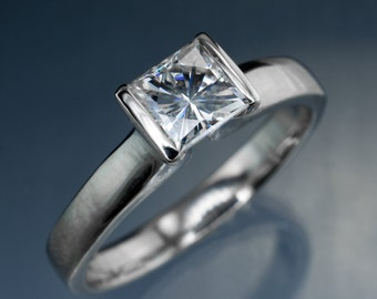 Princess Cut Moissanite Modified Tension Solitaire Engagement Ring in Palladium, White Gold or Platinum