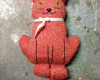 Vintage Folk Art cat Needle in the Haystack