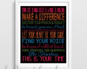 Inspirational Quote Print | Personalized Graduation Gift | Dorm Decor | Cubicle Decor | You choose the colors