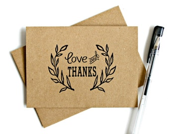 Kraft Thank You Cards (Set of 5) - Thank You Card Set, Wedding Thank You Cards, Rustic, Vintage Inspired