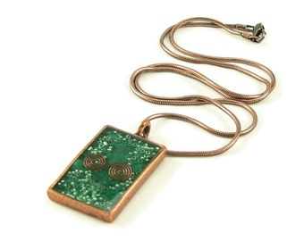 Orgone Energy Pendant - Copper Rectangle w/Malachite Gemstone - Unisex Necklace - Men's Necklace - Energy Jewelry - Artisan Jewelry