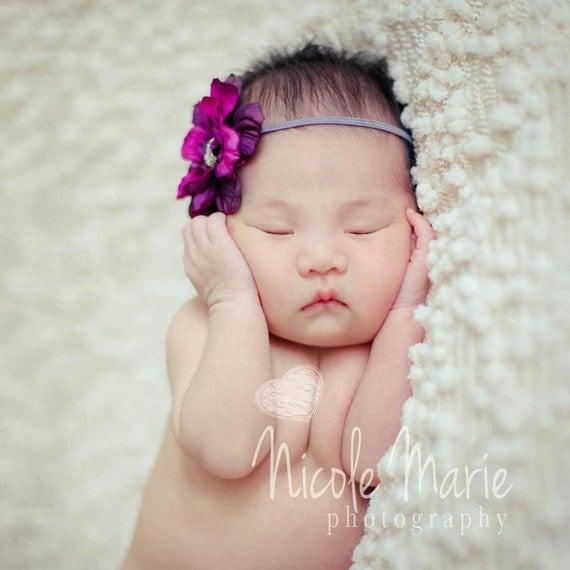 Deep Purple Flower Headband...Baby Bows...Baby Girl Headband...Vintage Headband...Photography Prop...Newborn Headband