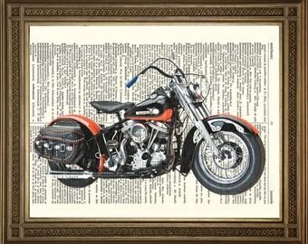 """HARLEY DAVIDSON MOTORBIKE Prints: Original Antique Dictionary Page Vintage Bike Art - Blue, Orange (8 x 10"""")"""