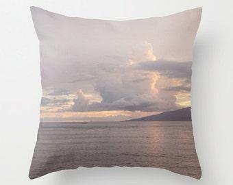 Purple Pastel Accent Pillow, Maui Sunset Decorative Pillow, Hawaii Coast Cushion Pillow, Shoreline, Clouds Beach Summer Decor, 18x18 24x24