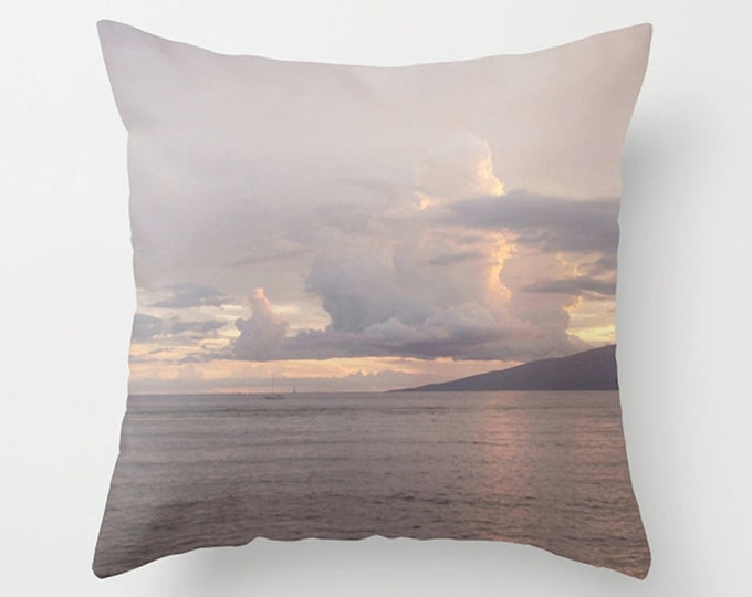 Purple Pastel Accent Pillow, Maui Sunset Decorative Pillow, Hawaii Coast Cushion Pillow, Shoreline, Clouds Beach Summer Decor, 18x18 24x24