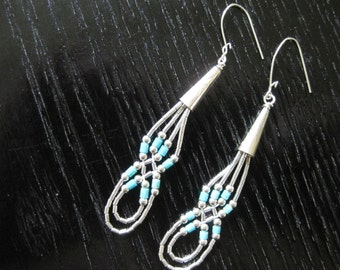 Liquid Silver & Turquoise American Indian Earrings
