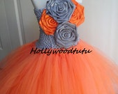 tangerine and grey flower girl tutu dress