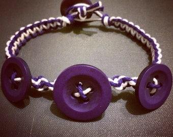 Purple & White Button Bracelet