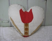 Pillow Heart with Vintage Red Tulip Quilt Piece Tan with 3 Clear Brown/Amber Buttons Home Decor