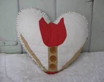 Pillow Heart with Vintage Red Tulip Quilt Piece Tan with 3 Clear Brown/Amber Buttons Home Decor Bedroom Decorative Accent