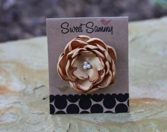 30 Colors Small Satin Flower Hair Clip, Gold Flower Hair Clip