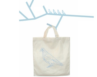 Geometric Parisian Pigeon Tote Bag - French Pigeon Bag -  Bleu and Natural