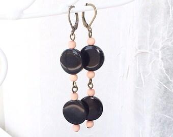 Tagua Nut Jewelry, Tagua Earrings, Black Dangle Earrings, Round Tagua Nut Earrings - Natural Jewelry - Long Earrings