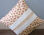 Cream,burgandy floral, lace and ribbon detail central band of patchwork squares cushion cover 16 x 16 inch.Pillow sham,throw pillow cover.