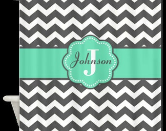 Gray White Chevron Monogram Fabric Shower Curtain - You choose accent color