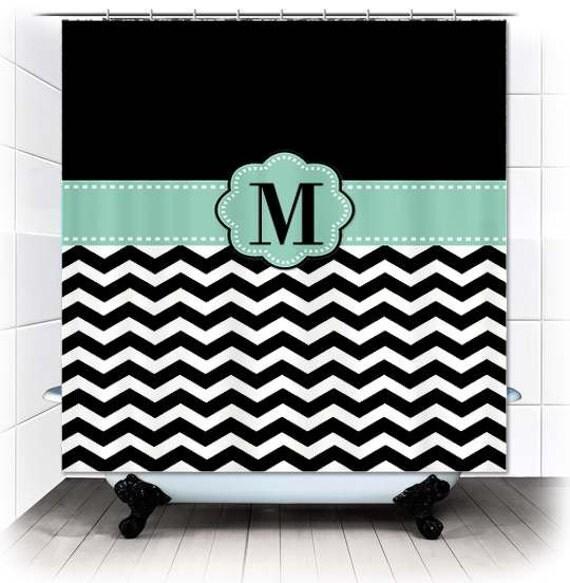 mint black white chevron monogram fabric shower curtain you