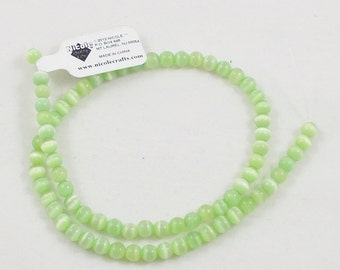 """CLEARANACE Green Cat's Eye Glass Beads, Light Green - Round, 5 mm, Full 15"""" strand of beads - Jewelry Making Supply, Craft, Rosary Supplies"""