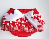 Baby Girl Bloomer-Easter diaper cover-Easter outfit-ruffle diaper cover-Red and White-Chevron stripes polka dots-Baby Girl Easter-Photo Prop