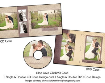 LILAC LOVE - Cd and Dvd Case Set Template, Digital File