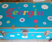 Flower decal - Name decal - teen decals - wall decals - camp trunk decals - vinyl wall decals - set of 23